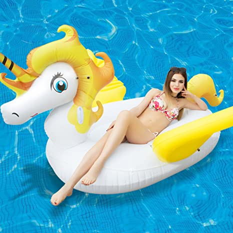 Gigante Unicornio Flotador con Alas Juguete Hinchable Colchoneta Piscina Juguete Acuático Fresco para la Piscina y