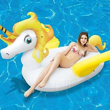 Gigante Unicornio Flotador con Alas Juguete Hinchable Colchoneta Piscina Juguete Acuático Fresco para la Piscina y Tomar el Sol en el Verano