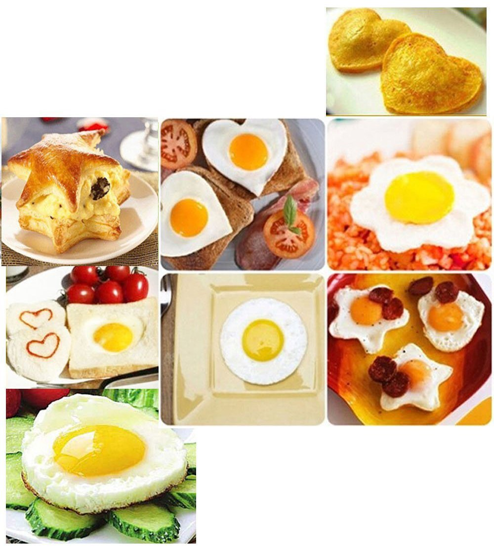 Fried Egg Shaper Mold, Vangoddy Stainless Steel Egg Mould Cooking Kitchen Tools for Kids and Lovers (4 Pack (Round, Star, Heart, Flower)) by Vangoddy (Image #5)