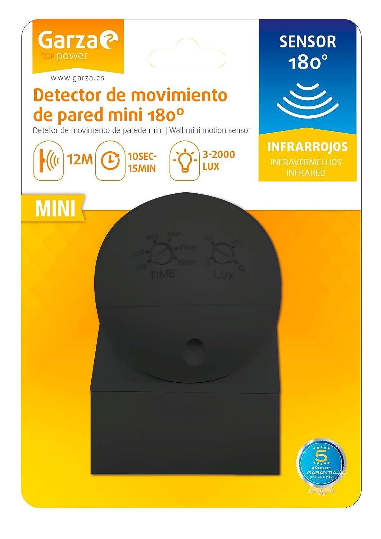 Garza Power - Detector de Movimiento Infrarrojos Mini de Pared, uso Exterior, ángulo de Detección 180º, Negro: Amazon.es: Bricolaje y herramientas