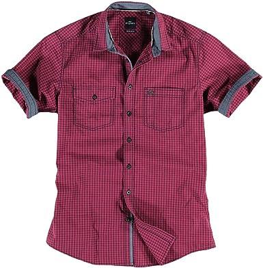 engbers Hombre Camisa Cuadros, 22049, Rojo borgoña XXX-Large ...