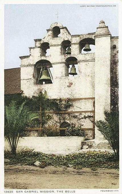 Amazon com: Vintage Postcard Print | The Bells, Mission San
