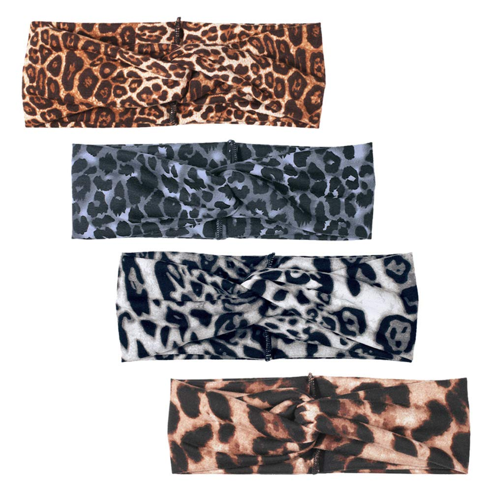 4 Pack Leopard print Stretch Wide Turban Headband Animal Elastic Hair Band Criss Cross Cheetah Head Wrap for Women Girls Hair Accessories