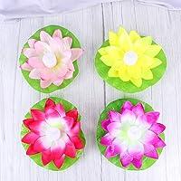 Uonlytech Pack of 4 Floating Lotus Light,Lily Flower Blessing Light,Flower Wishing Light for Pool Garden Fish Tank…