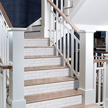 Amazon Com Amazingwall 3d White Brick Stair Risers Decorative Wall