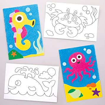 Baker Ross- Dibujos de animales marinos para decorar con arena ...