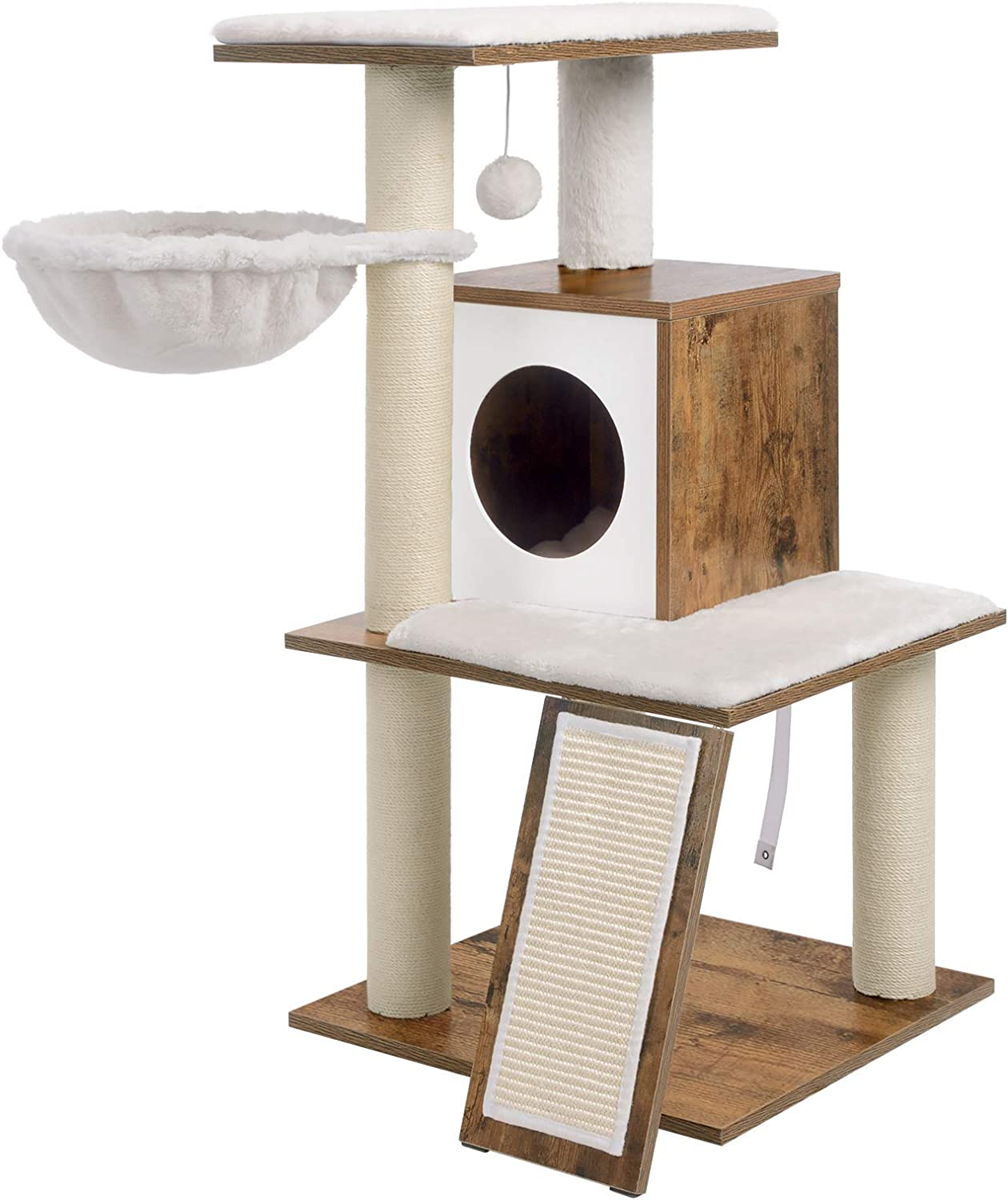 Amazon Com Feandrea Cat Tree Modern Cat Tower Wood Cat Condo Furniture With Scratching Posts For Large Small Cats 37 8 Inches Walnut Color Upct071h01 Pet Supplies