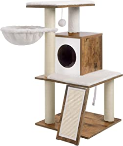 FEANDREA Cat Tree, Modern Cat Tower, Wood Cat Condo Furniture with Scratching Posts for Large/Small Cats,37.8 Inches, Walnut Color UPCT071H01