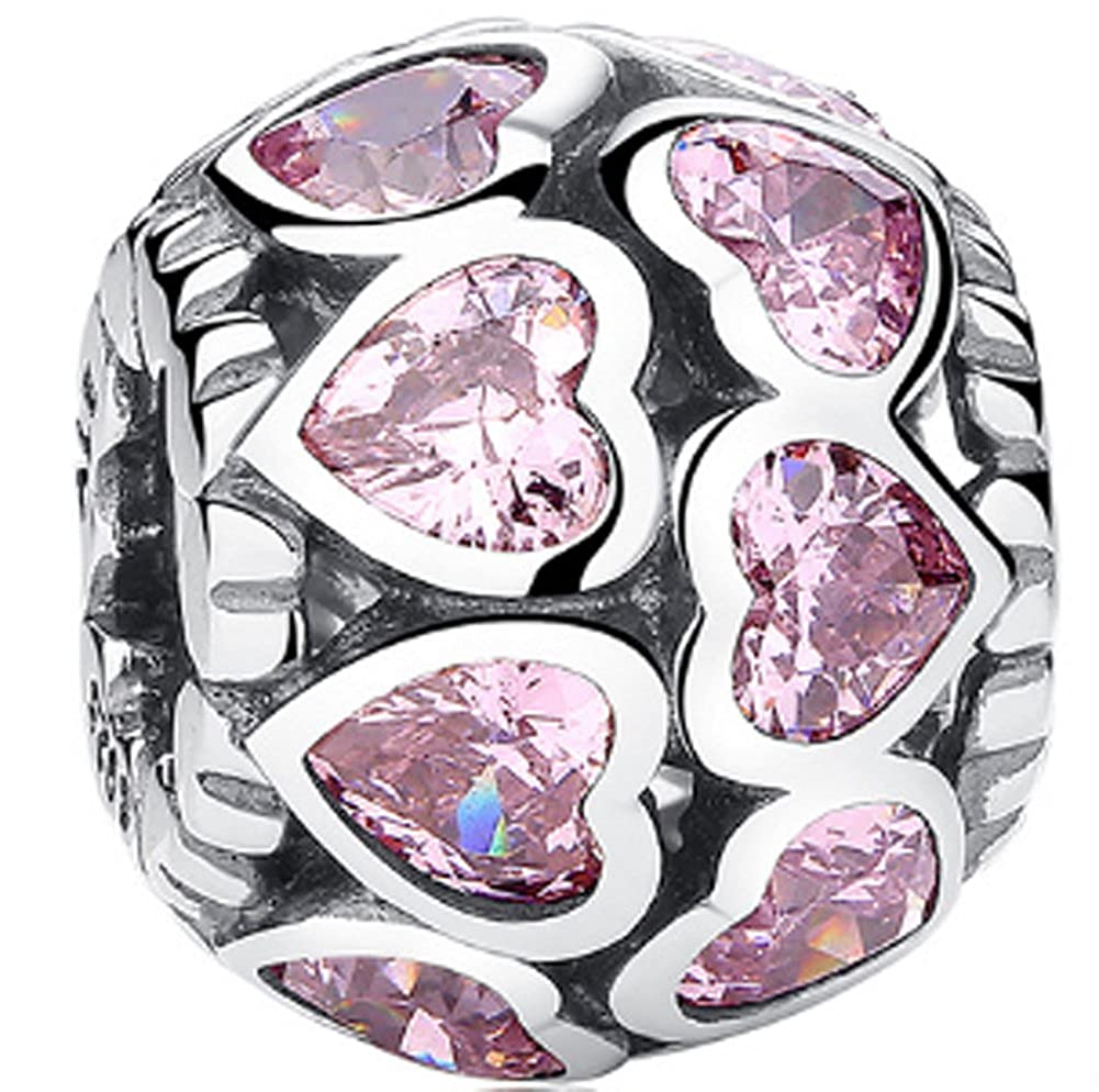 CC-JJ 925 Sterling Silver Love All Around Pink CZ Heart Charm