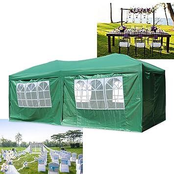 Faltpavillon wasserdicht Alu grün 6x3 Gartenpavillon mit 4 Seitenteile Pavillon