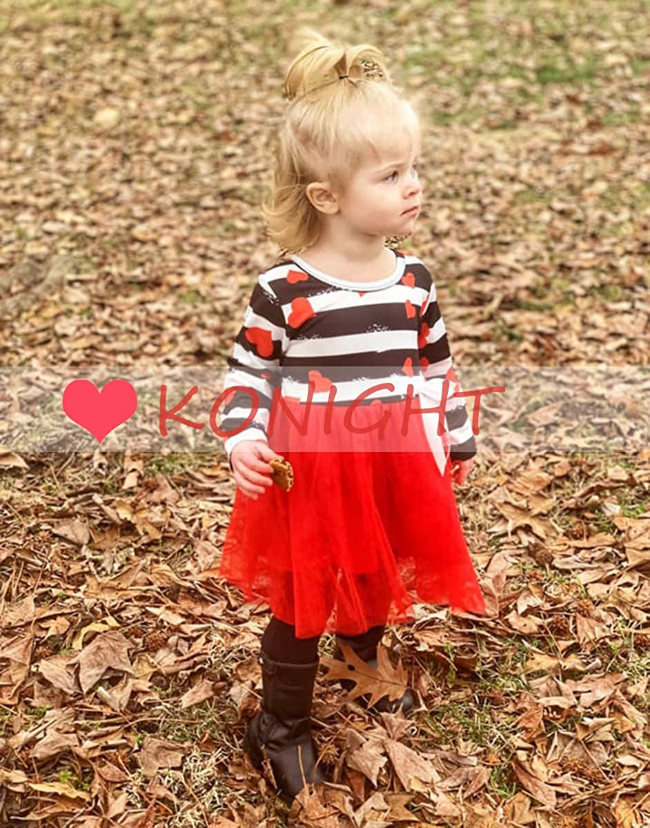 KONIGHT Valentines Day Toddler Baby Girls Dress Outfits Heart Print/Princess Party Tutu Skirt Ruffle Dresses Clothes