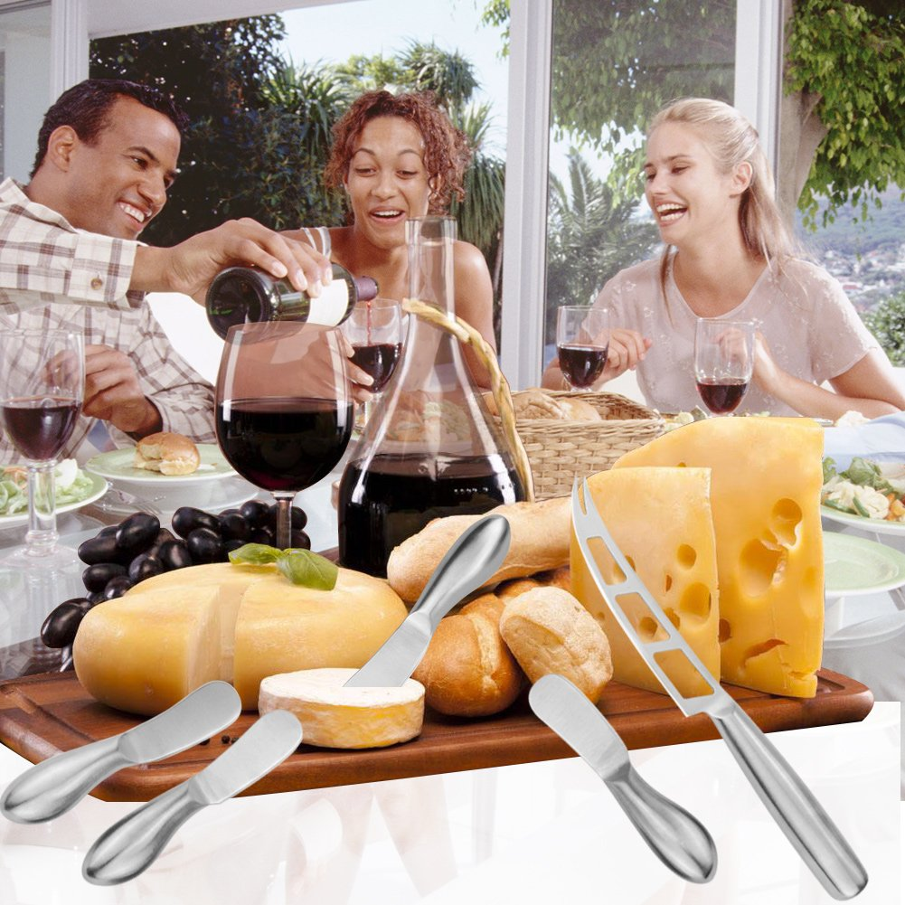 Eagmak Cheese Knives, 5-Piece Cheese Spreader Knife Cheese Knife Set Stainless Steel Spreader Knife Set Butter Spreader Multipurpose Butter Knives by Eagmak (Image #7)