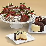 Shari's Berries - Dipped Cheesecake Trio & Full Dozen Swizzled Strawberries - 15 Count - Gourmet Baked Good Gifts