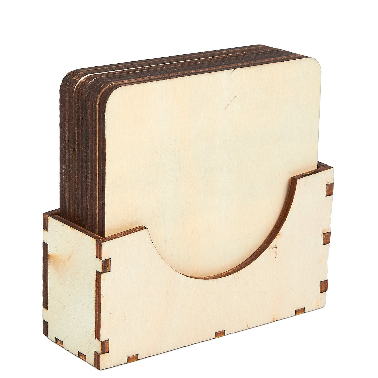 Wood Coasters - 6-Pack Square Wooden Drink Coasters with Holder, Unfinished Wood Cup Coasters for Home Kitchen, Office Desk, 3.875 x 3.875 x 0.188 Inches by Juvale (Image #4)