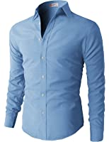 H2H Men's Oxford Cotton Slim Fit Button-down Long Sleeve Shirt