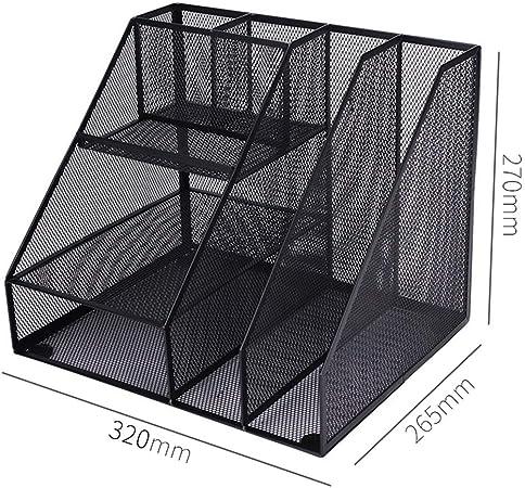 QFFL zhuomianshujia Carpeta Caja de Almacenamiento Material metálico Barra de Archivos multifunción Estante de Oficina Diseño de tapete Antideslizante (3 Estilos) Estanteria de Escritorio: Amazon.es: Hogar