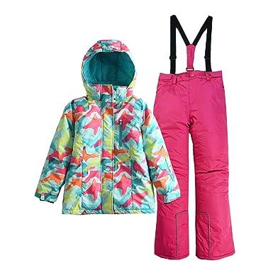 776a6879a Hiheart Girls' Winter Warm Snowsuit Hooded Snowwear Jacket + Pants 2 Pcs  Set Rose 3
