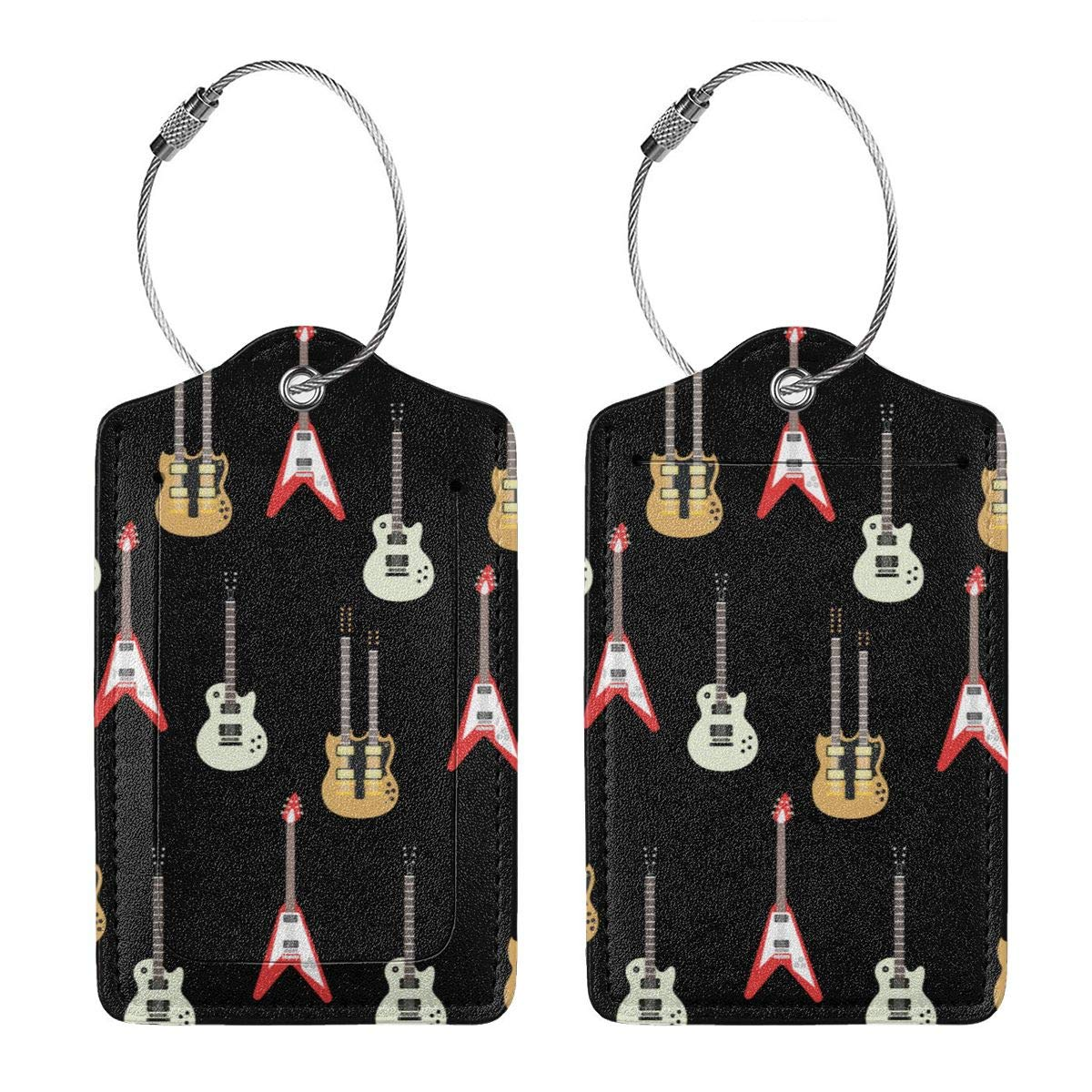 Color Guitar Leather Luggage Tags Baggage Bag Instrument Tag Travel Labels Accessories with Privacy Cover