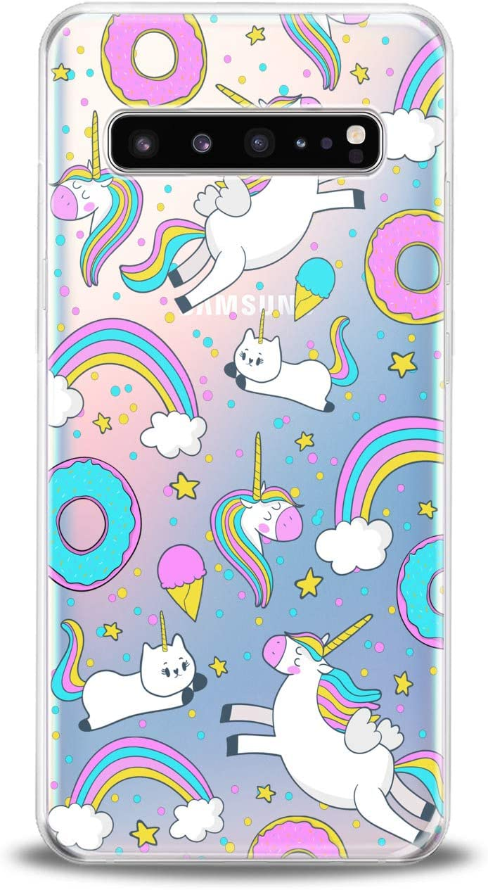 Lex Altern TPU Case Compatible for Samsung s21 Ultra s20 FE S10 Plus Note 10 s9 s8 Smooth Food Donut Lightweight Girls Blue Soft Slim fit Clear Cutie Pink Print Ice Cream Design Cover Unicorn Teen