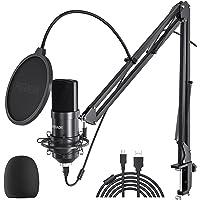 Peradix USB-condensatormicrofoon voor pc en laptop, studioopnamekit met microfoonstandaard, schokdemperhouder, voorruit…