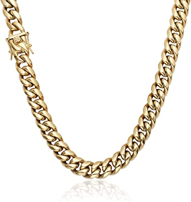 Mens Miami Cuban Link Chain HEAVY 14k 18K Gold Plated Stainless Steel Hip Hop