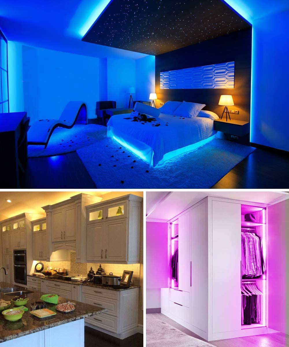Bedroom Party Decoration 12V//3A Adapter 2x16.4Ft MINGER Led Strip Lights Kit 32.8Ft RGB Light Strip with Remote Controller Box and Support Clips for Room Kitchen Cabinet Home Non-Waterproof