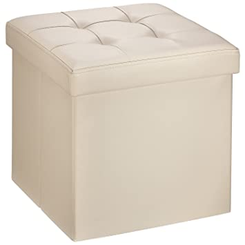 Ollieroo Faux Leather Folding Storage Ottoman Bench Seat Foot Rest Stool Coffee  Table (15u0027
