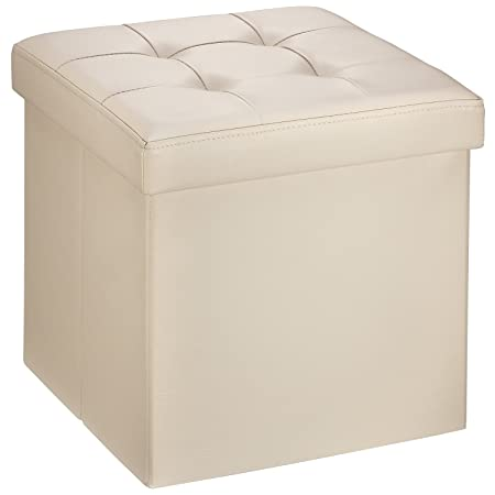 Ollieroo Faux Leather Folding Storage Ottoman Bench Seat Foot Rest Stool Coffee Table 15 X15 X15 Beige