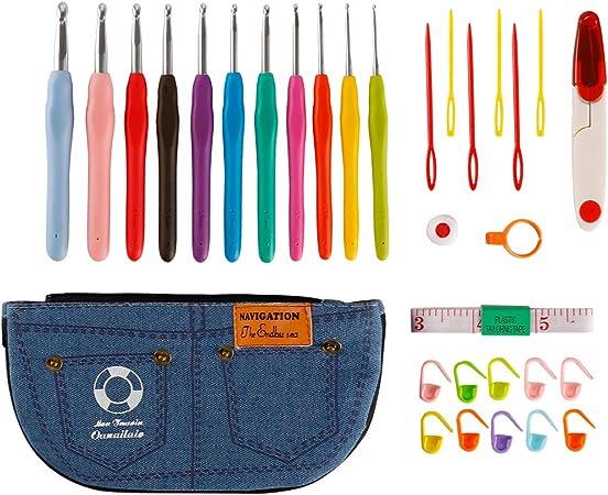 Agujas Crochet,Luollove Accesorios Ganchillo,Ergonómico Suave Ganchillo in Sizes 2.0mm-8.0mm Ganchillos Crochet(31 Pcs/Set): Amazon.es: Hogar