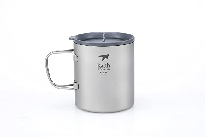 Keith Titanium Ti3356 Double-Wall Mug with Folding Handle and Lid - 20.3 fl oz