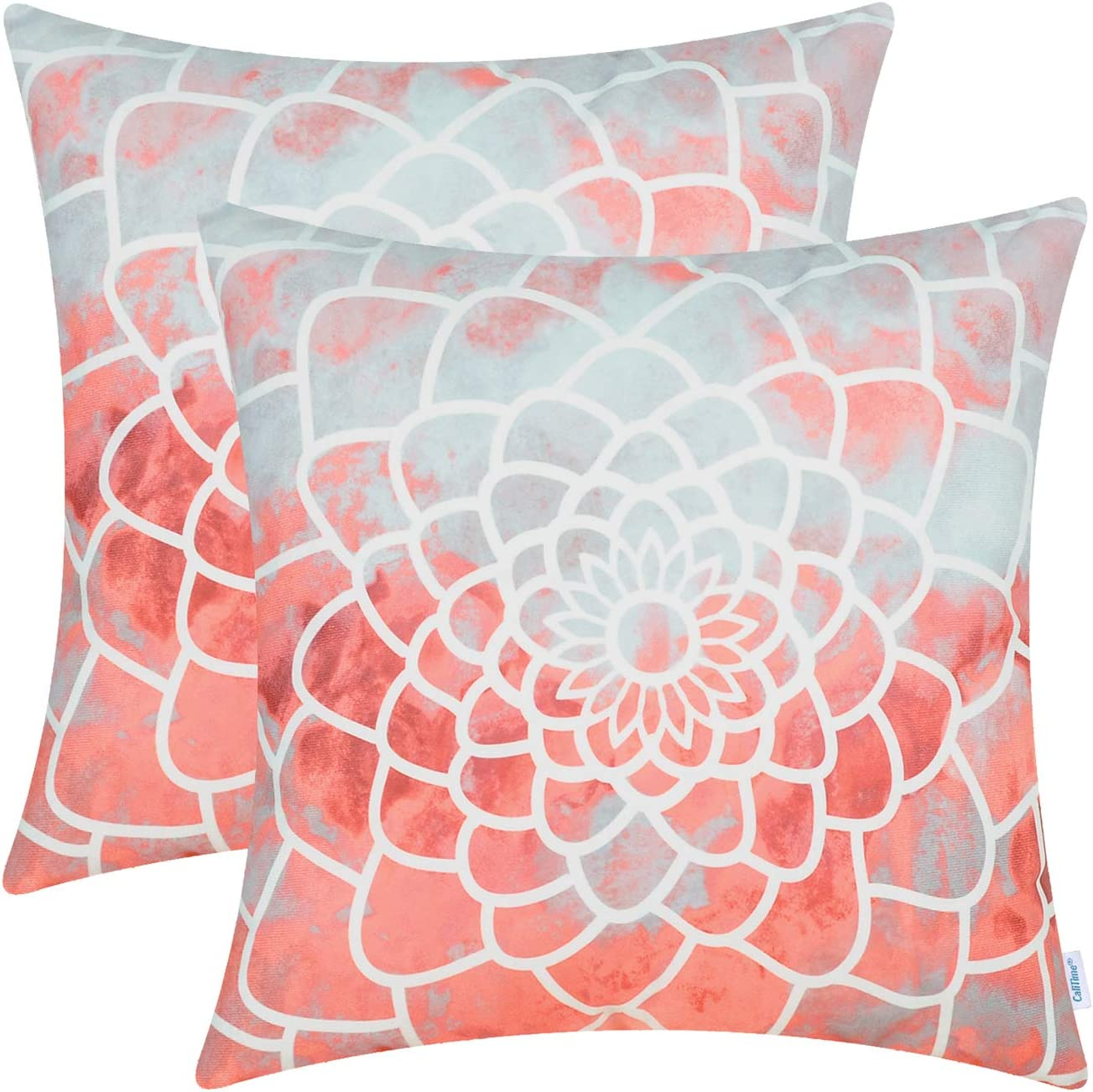 CaliTime Pack of 2 Cozy Fleece Throw Pillow Cases Covers for Couch Bed Sofa Manual Hand Painted Print Colorful Dahlia Compass 20 X 20 Inches Coral Pink