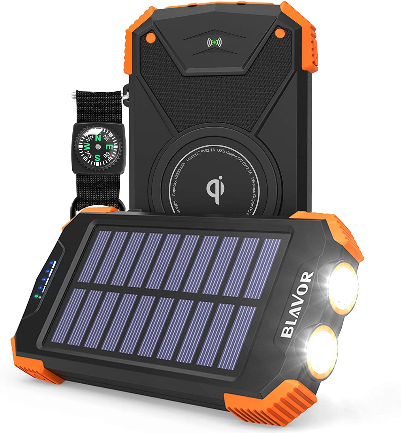 Solar Power Bank, Qi Portable Charger 10,000mAh External Battery Pack Type C Input Port Dual Flashlight