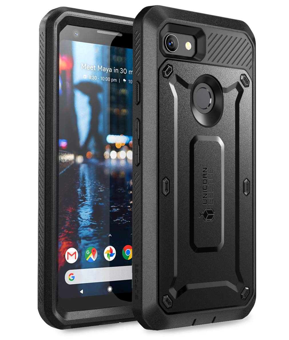 SUPCASE Unicorn Beetle Pro Series Designed for Google Pixel 3a Case, Full-Body Rugged Holster Case with Built-in Screen Protector for Google Pixel 3a 2019 Release (Black)
