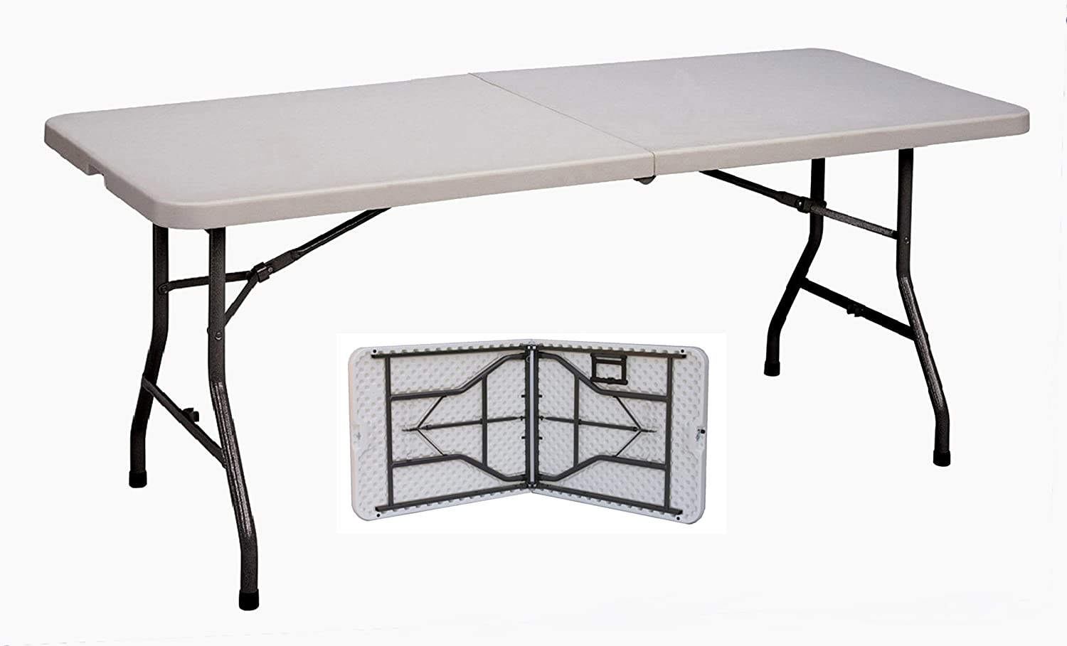 Correll CP3072FM Light Weight Blow Molded Fold in Half Table, For Easy Transportation, Rectangular, 30 x72 , Gray Granite