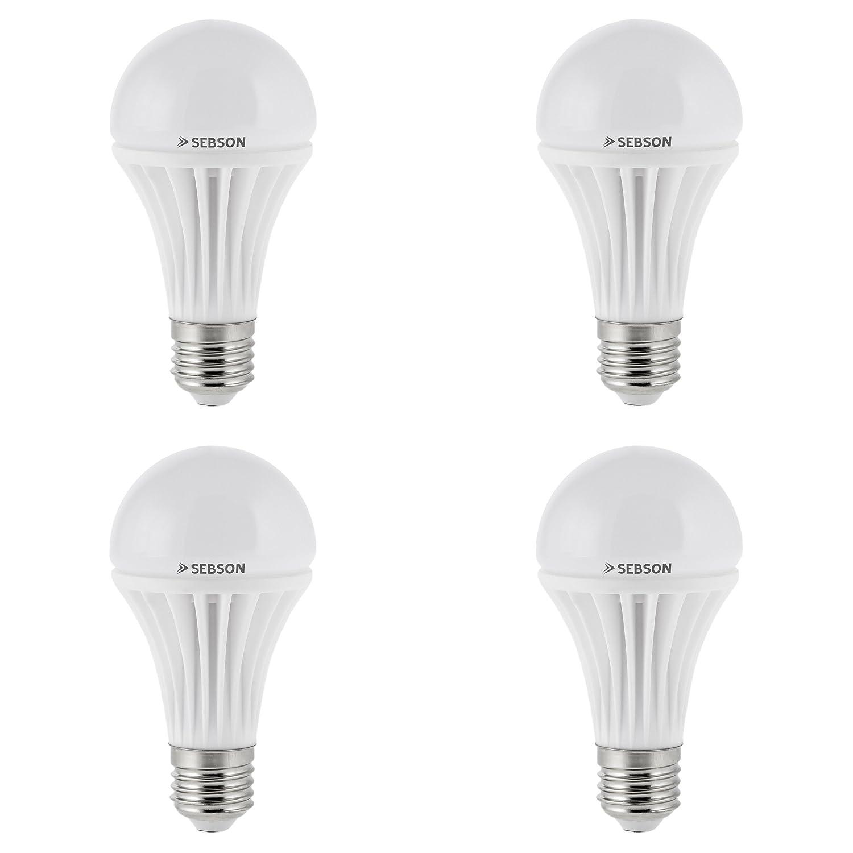 Sebson® 4 x E27 12W LED (Equivale de 80W - Calido Blanca - 1150lm - SMD LED - 180º Haz de luz - 230V AC)