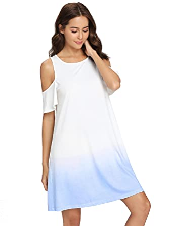 b3b5dd884eb6 Romwe Women s Cold Shoulder T-Shirt Dress Short Sleeve Tie Dye Tunic Swing  Ombre Dress