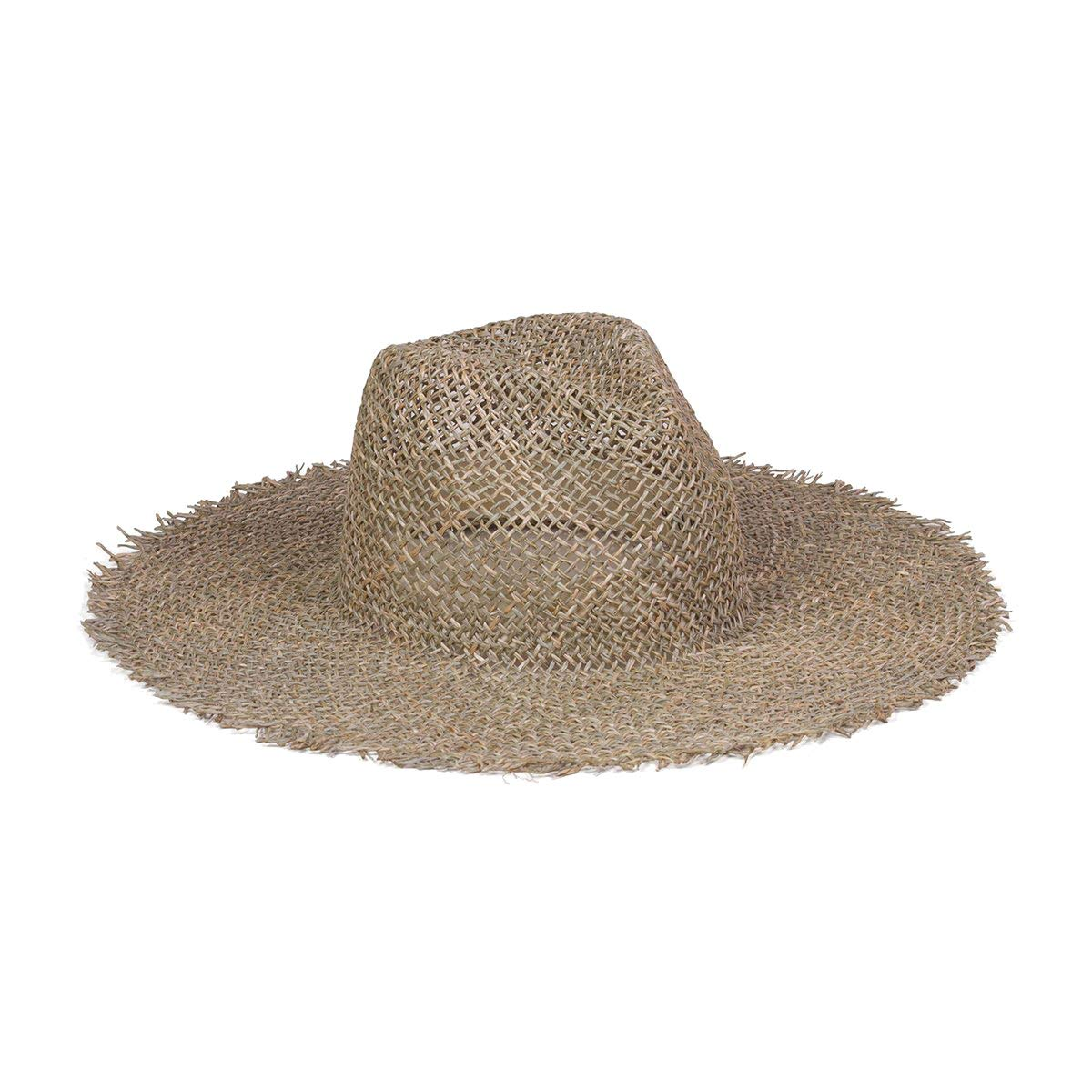 Lack of Color Women's Sunnydip Fray Woven Seagrass Fedora (Natural, Medium (57 cm))
