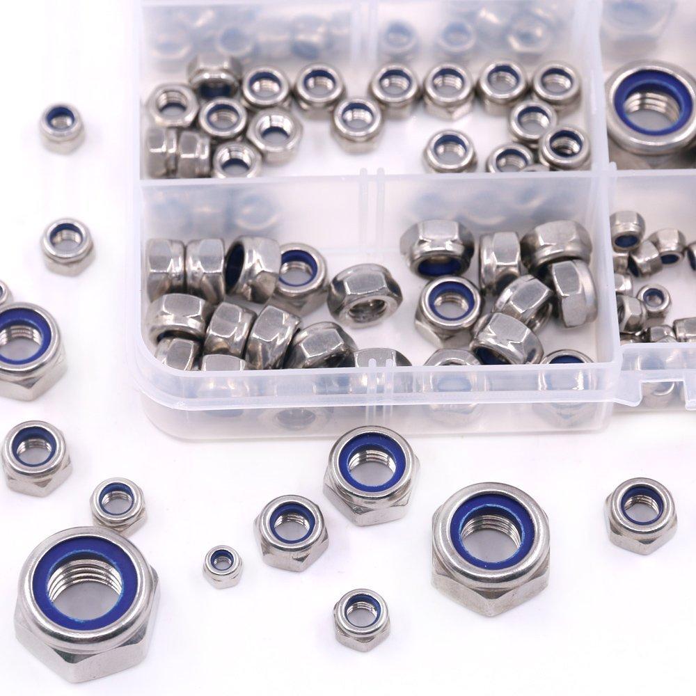 165pcs 304/Edelstahl Nylon Kontermutter Sortiment Kit mit Tragetasche M3/M4/M5/M6/M8/M10/M12/Nylon Einsatz SM