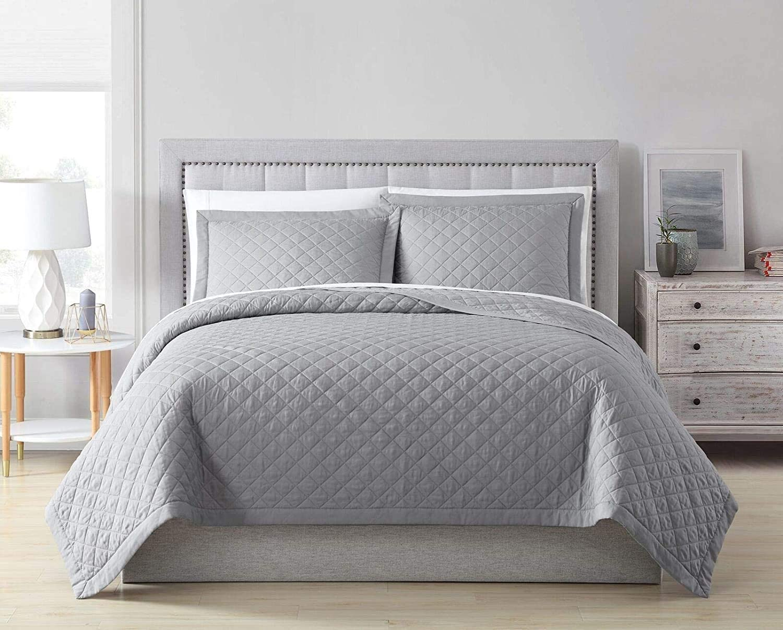 Owen 3-Piece Soft Cooling Bamboo Fiber Quilt Bedspread Diamond Quilted Coverlet Set (King, Light Gray)