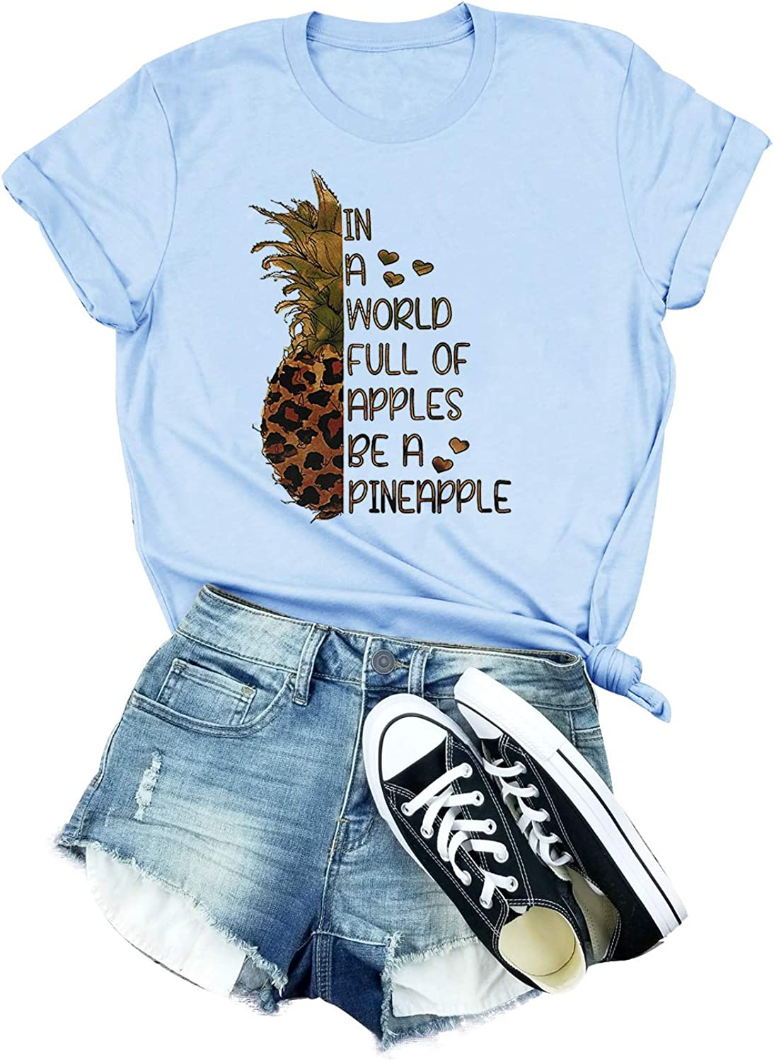 Full of Apples Be A Pineapple T-Shirt Women Fruit Graphic Funny Short Sleeve Tee Tops