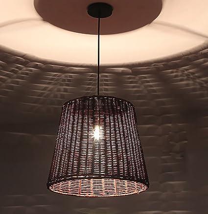 HAIXIANG Upgradelights Wicker Rattan Swag Lamp Lighting Fixture ...