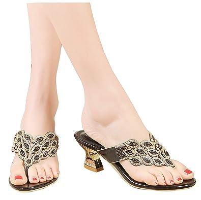 47807bedd YooPrettyz Summer Rhinestone Thong Strap Sandals Sweet Sandal Gold Chunky Low  Heel Black 3