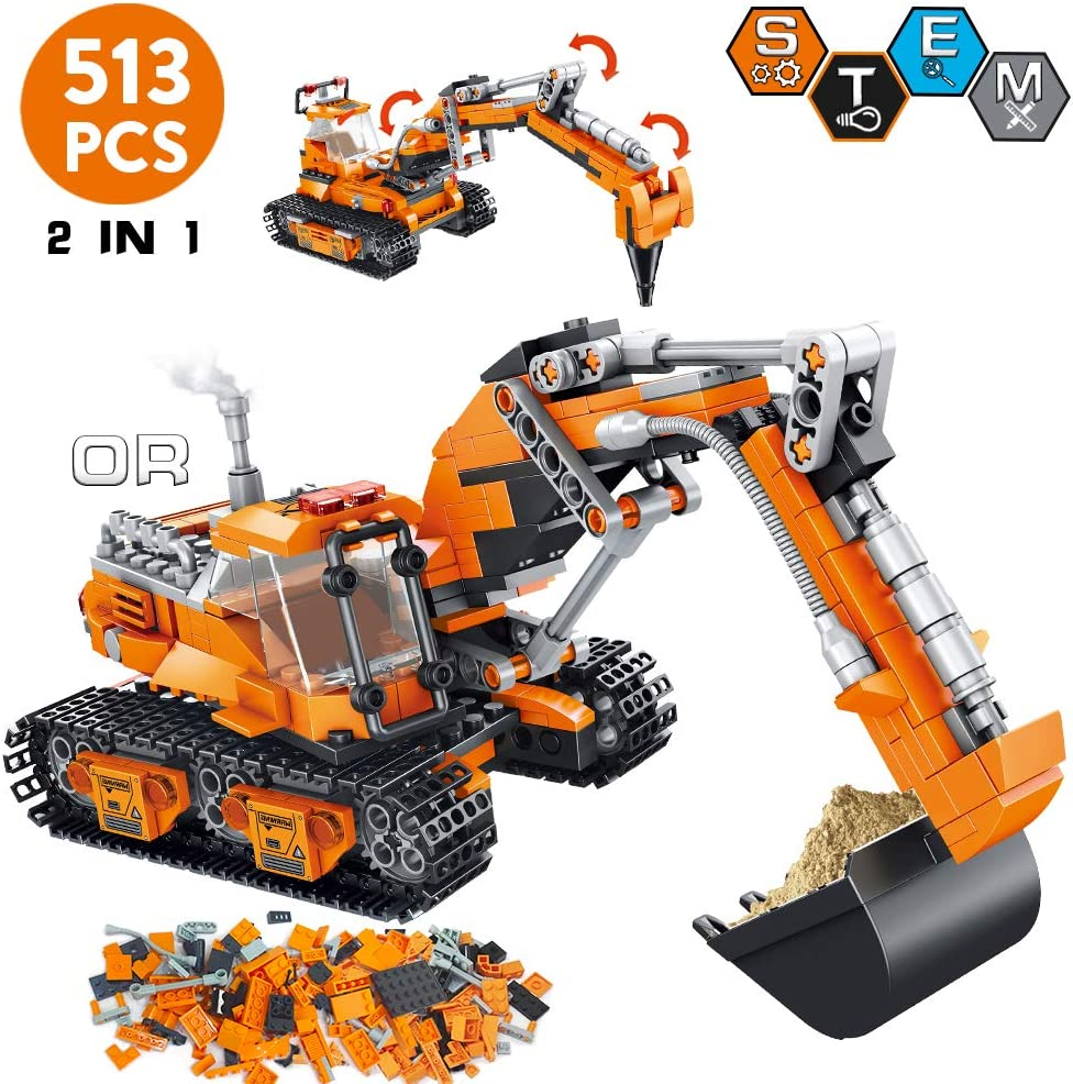 Gift for boy and Adult Engineering Vehicle Changeable Educational Build Brick Toy dOvOb Giant Excavator Building Blocks Sets 893 Pieces
