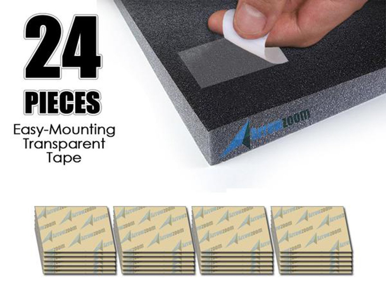 Arrowzoom New 24 Pieces Easy Transparent Wall Double Sided Adhesive Mounting Sticky Tabs/Tapes