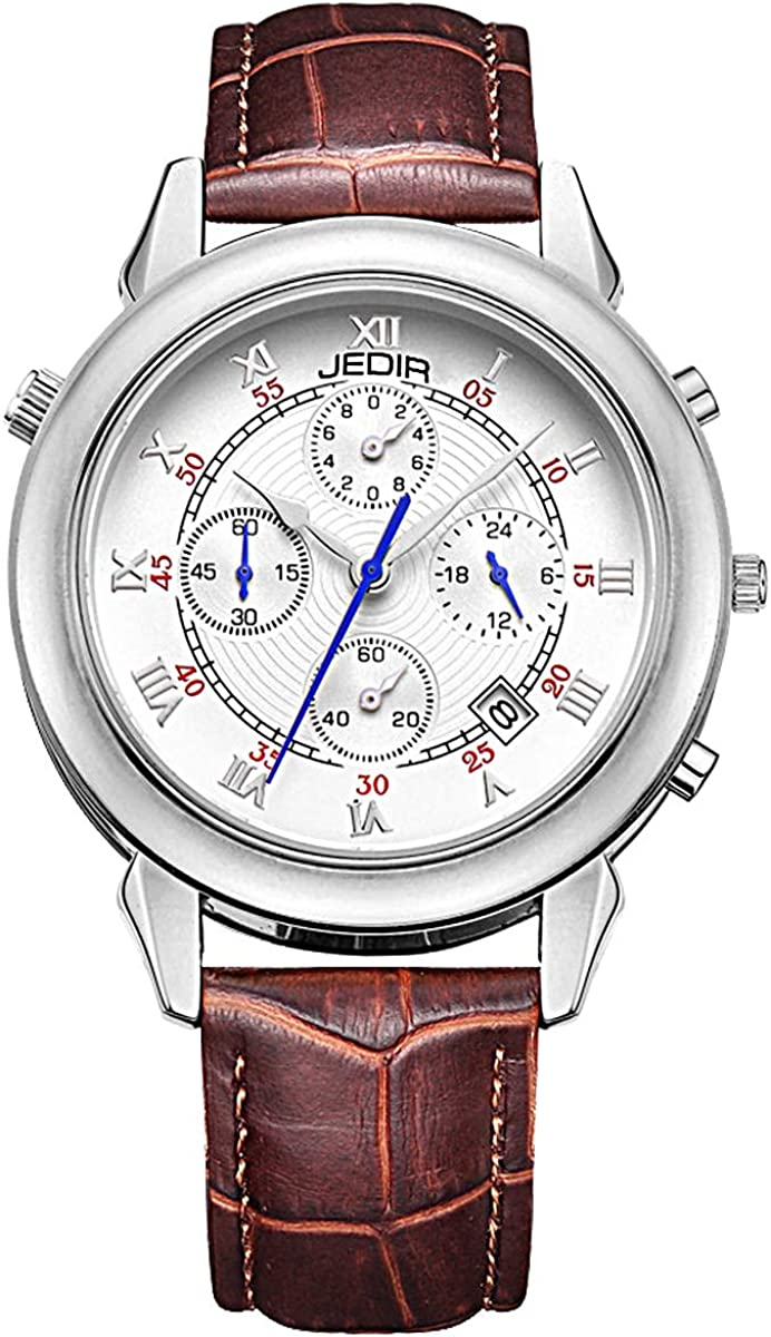 JEDIR Men s Multifunction Chronograph Watch Double-Sided Display Quartz Analog Date Daily Leather Strap