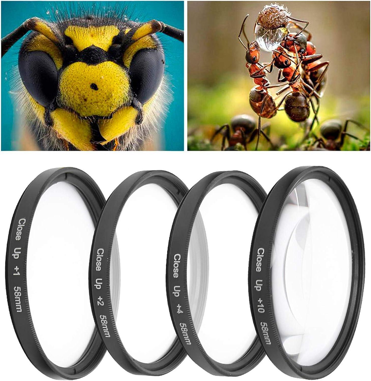 1 Goshyda Kit de Filtro de Lente Macro de 58 mm 10 Material de Vidrio /óptico de 4 resistencias Diferentes Cuatro filtros de Primer Plano para c/ámaras 2 4