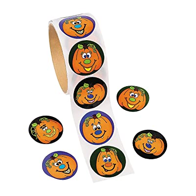 Fun Express - Jack-O-Lantern Roll StickerS-100 ct for Halloween - Stationery - Stickers - Stickers - Roll - Halloween - 100 Pieces: Toys & Games