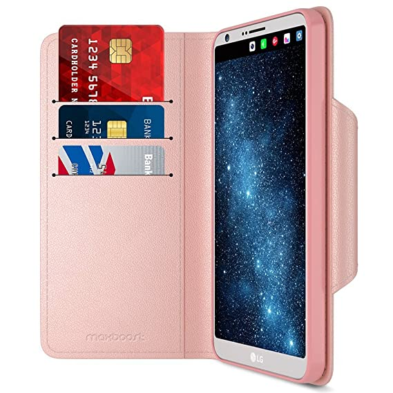 low cost 2e4a8 43545 LG G6 Case, Maxboost Wallet Protective Case with Hand Strap for LG G6  [Folio Style] Convenient Stand Feature PU Leather LG G6 Flip Cover with  Card ...