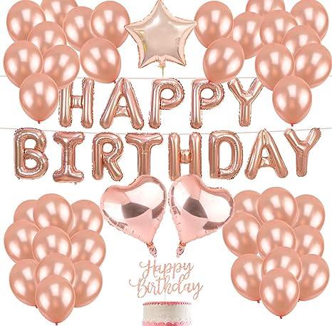 Happy Birthday Balloons Rose Gold Happy Balloons Birthday Banner Star Foil Balloons Confetti and Latex Balloons Rose Gold Birthday Party Decorations and Balloons Rose Gold