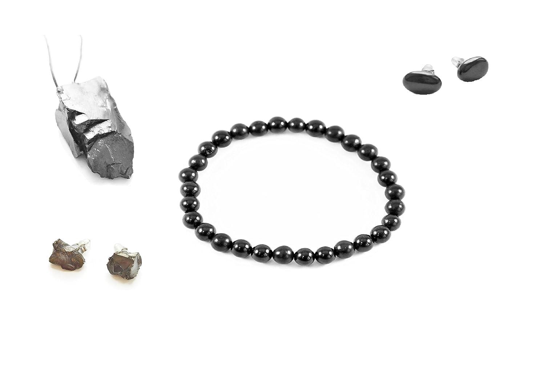 Karelian Heritage Elite Shungite Jewelry EMF Protection and Root Chakra  Crystal Healing Set